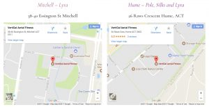 Location Map - Vertigal Aerial Fitness: Canberra Pole Dancing